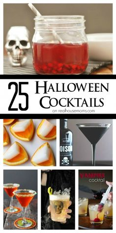 25 Halloween Cocktails on Real Housemoms (Im excited. I hope I work Halloween :-)) Soirée Halloween, Halloween Food For Party, Halloween Birthday, Holidays Halloween, Halloween Treats, Halloween Decorations, Easy Halloween Cocktails, Halloween Appetizers For Adults, Halloween Ideas