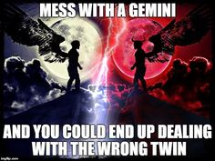 So, never mess with a Gemini, you never know which one you will get!