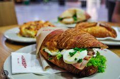Slany croissant v Ankeri - Filled croissant in Anker Best Bratislava (Slovakia) Restaurants Bratislava Slovakia, Croissant, Turkey, Meat, Chicken, Breakfast, Restaurants, Food, Morning Coffee
