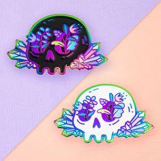 Rainbow Crystal Floral Skull Enamel Pin