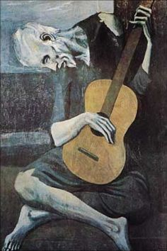 The Guitarist,  Pablo Picasso.    The blue period.  I love this painting.