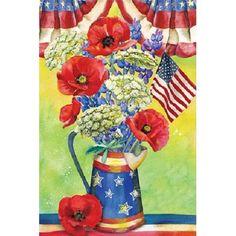 Patriotic Watering Can Bouquet Garden Flag