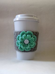Crochet Flower Coffee Cup Cozy Gray and Sea Green