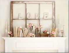 vintage mantel decor - too pink for me but cute