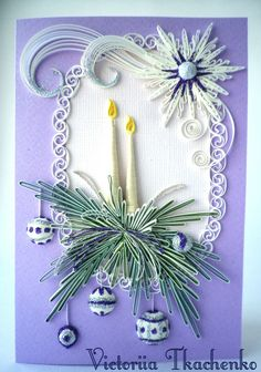 Quilling Greeting card, Christmas quilling card, New Year quilling card - candles More