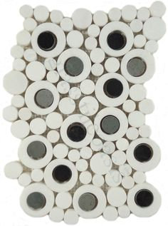 Optimal Coverings  Bubble Series, Circles, Thassos White with Bardiglio & Nero Dots, Polished, White, Stone