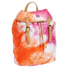 """Be Bright Beach Backpack. On sale now for $38.99. Original price is $49.50.  A monogram or name can be added for additional $7.  12"""" wide 8"""" deep 16"""" high. Lined with cotton twill and made of canvas and leather on outside."""