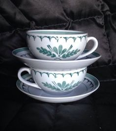 Two Sets VINTAGE ARABIA Finland Grey Green Thistle TEA SET...