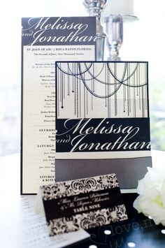 full black and white wedding invitation suite with escort card and program  lovemdesign.com