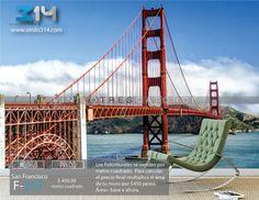 Fotomurales ciudad San Francisco Puente Golden Gate (Tapiz) (mural) (fotomural) Decoración de muros y superficies lisas. Vinilo 314 Guadalajara Mexico. www.vinilo314.com