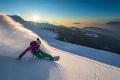 Slashing at sunset with Liz Daley. Samoens, Grand Massif, Haute Savoie, France. Photo: Tristan Shu