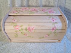 ROMANTIC ROLL TOP BREAD BOX hp roses shabby chic vintage cottage hand painted #VINTAGE