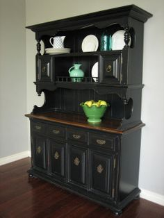 Black distressed colonial dining hutch