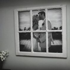 DIY window photo frame .. Could possibly use a regular photo frame and place the middle bits in then distress - saves going searching for an old window ! :)