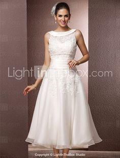 Lanting Bride® A-line Petite / Plus Sizes Wedding Dress - Reception Little White Dresses / Wedding Dresses With Wrap Tea-length Jewel 2017 - ₣118.79