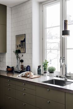 white and army green kitchen decor // green cabinets // white subway tile Rustic Kitchen Design, Home Decor Kitchen, Kitchen Furniture, New Kitchen, Kitchen Interior, Home Kitchens, Furniture Design, Furniture Stores, Interior Paint