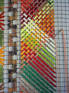 🌟Tante S!fr@ loves this📌🌟Multi color weave Paper Weaving, Weaving Art, Weaving Patterns, Loom Weaving, Tapestry Weaving, Bargello Needlepoint, Needlepoint Stitches, Needlework, Abstract Embroidery