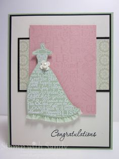 Stamp With Sandy: Pistachio Bride, DD65 & RS76 - cute idea with the ruffled ribbon at the bottom of the dress.