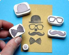 Make me droll. Clown hand carved rubber stamps set of 5. $22.00, via Etsy.