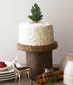 DIY cake stand - love the mini tree topper too!