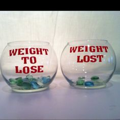 Keep Track of your weight lost! I went to the dollar store. Bought 2 glass bowls, one bag of glass rocks and one pack of monogram sticker letters and spent $4.33! I will keep this on my counter in the kitchen as my daily reminder. Weigh your self and see how many pounds youd like to lose and put that many rocks in the Weight to Lose  bowl... When the weight starts coming off transfer your rocks into the Weight Lost bowl. (the lost bowl with the rocks in it is just a