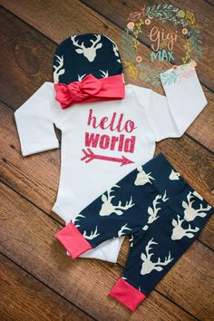 Pink and Navy Deer Newborn Outfit