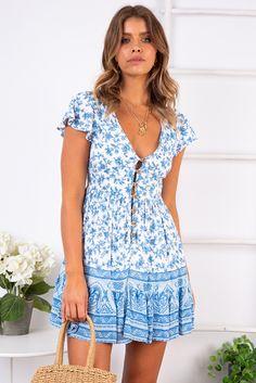 83a562ec014c8 Blissful Days Spring Dress - Light Blue Print - Stelly