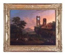 Escuela francesa de mediados del siglo XIX Paisaje con iglesia Cuadro-reloj al óleo sobre lienzo