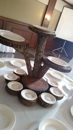 Check out this awesome hand made rustic dessert stand!