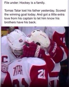 Zetterberg hugs Tatar after scoring game winner. his father passed the day before. Hockey players and their love for their teammates is awesome. Hockey Memes, Hockey Quotes, Sports Memes, Funny Hockey, Baseball Memes, Montreal Canadiens, Hockey Live, Hockey Pictures, Hockey Players