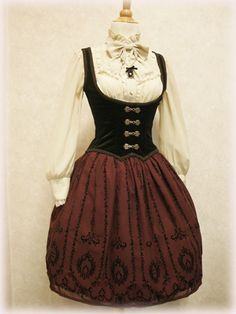 Corset by Excentrique, skirt and blouse by Innocent World