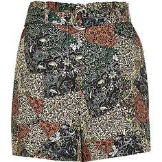 Green paisley print high waisted shorts $56.00