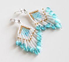 Seed Bead Jewelry. Blue White Gold Seed Bead Earrings With Fringe. Beadwoven Dangle Earrings. Gift under 25.. #beadwork