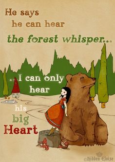 Bear Print Bear and Girl Illustration Whimsical fairytale storybook art print Wall art
