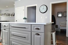 Grey Shaker cabinets with oil rubbed bronze pulls and ...