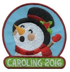 Take your Girl Scouts caroling and give them our caroling snowman patch to add to their patch collection. Available at MakingFriends.com
