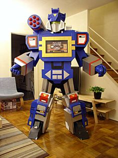 Amazing! Transformers halloween costume made out of cardboard boxes