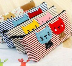 Cute Sweet Cat Canvas Stripe Pencil Case Pencil Bag