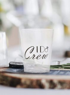 "I Do Crew Shot Glasses are a great idea for weddings, Bridal Shower and Bachelorette Party favor gifts for guests. Featuring the text ""I Do Crew"" in elegantly styled font, those drinking glasses are perfect for serving spirits and alcohols at your wedding reception and a fun twist addition to your alcohol table bar. Cheap Wedding Gifts, Affordable Wedding Favours, Wedding Welcome Bags, Beach Wedding Favors, Wedding Favor Boxes, Wedding Napkins, Wedding Reception, Wedding Giveaways For Guests, Wedding Games For Guests"