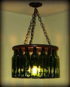 Wine bottles DIY chandelier   - 20 DIY Chandeliers  Using Vintage Things