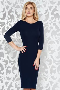 StarShinerS darkblue basic pencil with 3/4 sleeves dress slightly elastic fabric, tented cut, 3/4 sleeves, slightly elastic fabric, back zipper fastening, without clothing