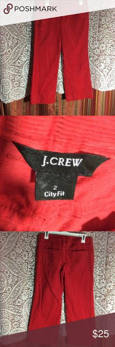 J. Crew Red/Orange City fit crop cords In excellent used condition, very bright red/orange color!  Cropped ...perfect for summer!! Size 2 J. Crew Pants Ankle & Cropped