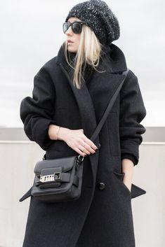 "Blogger Michaela Babuskova from ""FIGTNY"" | Oversized coat (Isabel Marant pour H&M). Knit dress (Aritzia). Sunglasses (Ray-Ban. Mini PS11 (Proenza Schouler). Chemin beanie (Aritzia)."