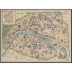Art.com - Vintage Paris Map