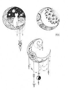 Ink and Paper Moon Designs Tattoos Moon tattoo designs body art designs - Tattoos And Body Art Love Tattoos, Beautiful Tattoos, Body Art Tattoos, Small Tattoos, Pretty Tattoos, Tatoos, Tattoos Lua, Natur Tattoos, Kunst Tattoos