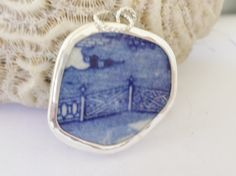 Broken China Pendant Sterling Silver Blue Fence Old China Shard Chaney by MaroonedJewelry on Etsy