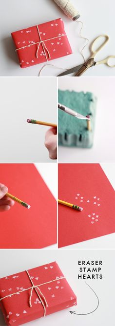 simple Valentine's Day gift wrapping ideas - mini heart stamp made out of an eraser