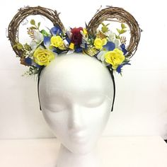 Belle from Beauty and the Beast Disney Princess inspired Flower Mickey Ears