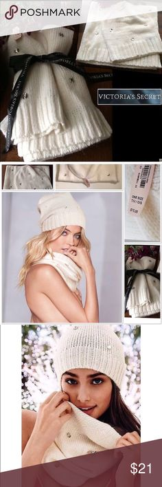 """NWT Victorias Secret Jeweled Hat&Tubular Scarf Set NWT Victorias Secret Jeweled Hat & Tubular Scarf Set  From """"Signature"""" Collection Brand New With Tags🔖  Size-One Size for Hat, Scarf is 23"""" x 13""""  80% Acrylic//15% Nylon//5% Polyester. Retail price $75.  🛍Bundle and Save💰I offer 15% discount for orders of 3 or more items☺️ Victoria's Secret Accessories Hats"""