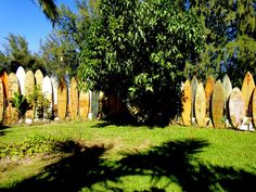 """Maui's famous """"The Maui Surfboard Fence"""" an amazing collection and display of donated surfboards"""